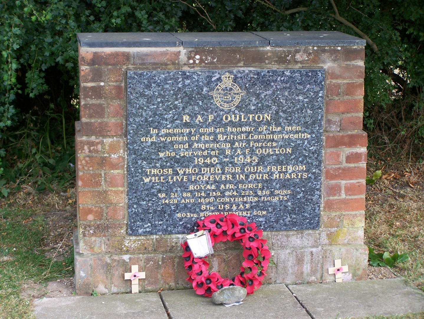 Unit memorial by crossroads at Oulton Street to north-east of airfield. 14:7:06.JPG